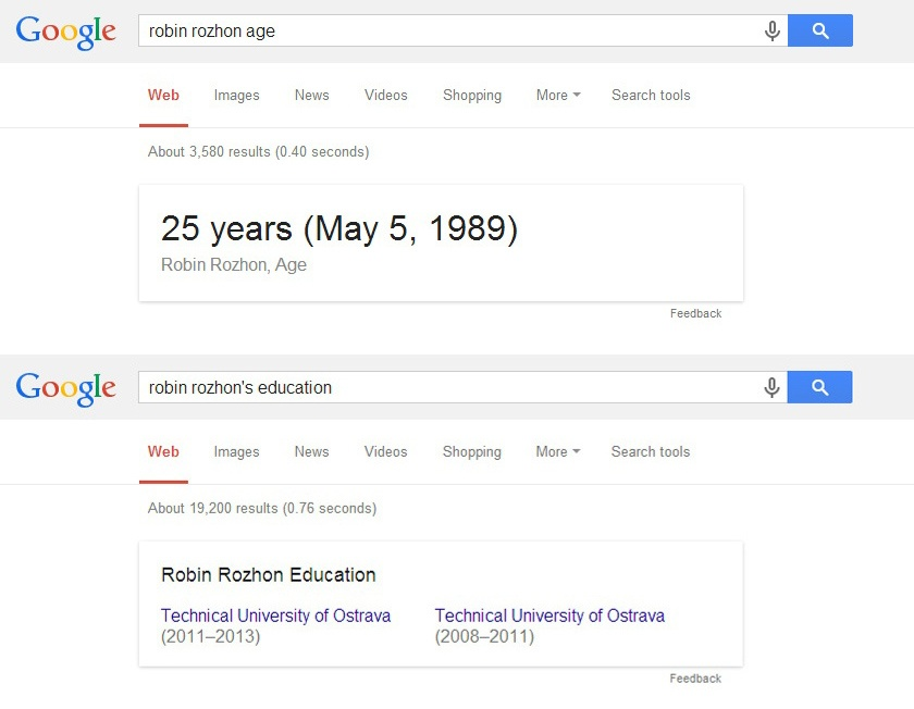 Google SERP for search query Robin Rozhon education and age