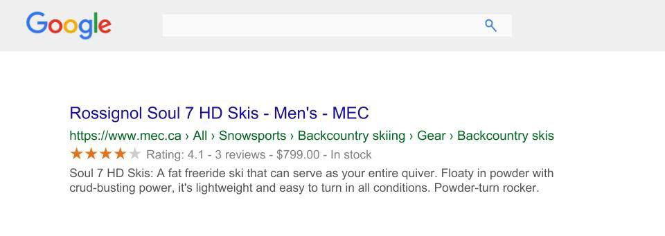 Rich snippet in Google search results