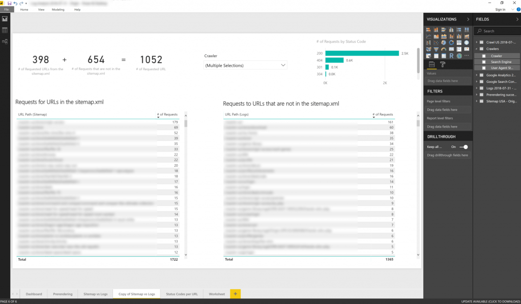 Comparing logs and sitemaps in Power BI