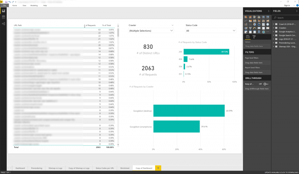 Log files overview in Power BI