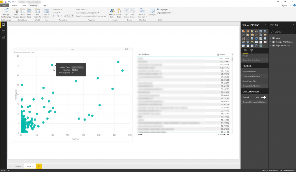 Blending Google Analytics and server logs in Power BI