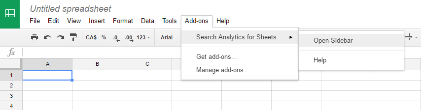 Activate Search Analytics for Sheets add-on