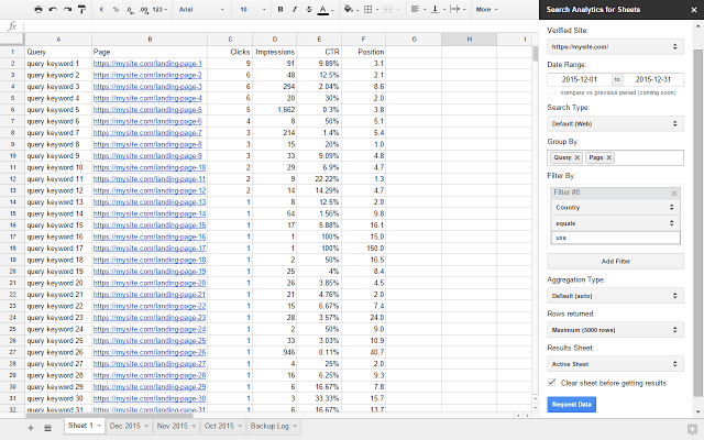 Search Analytics for Sheets